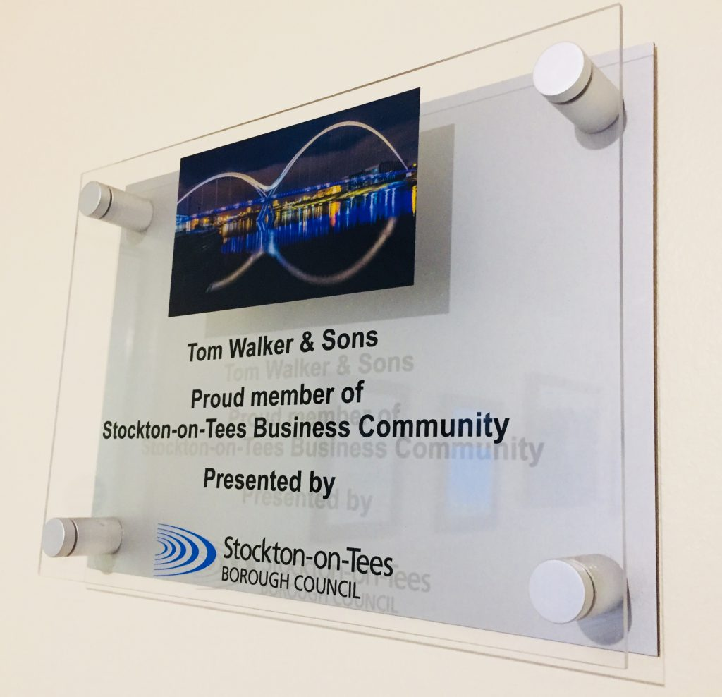 Plaque presented by Stockton-on-Tees Borough Council on display in reception