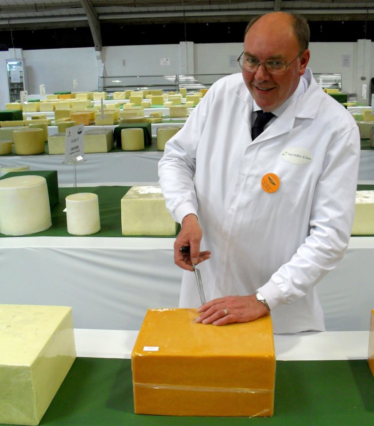 Peter Walker judging a cheese at the Great Yorkshire Show